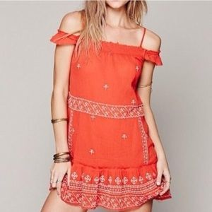 Free People Cold Shoulder Embroidered Tunic, XS